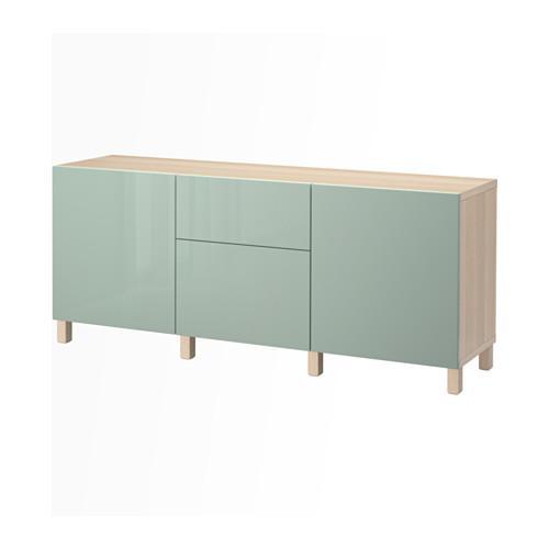 BESTÅ combinación de almacenamiento con cajones - un roble blanqueado / Selsviken luz brillante / gris-verde, guiando el cajón, empuje