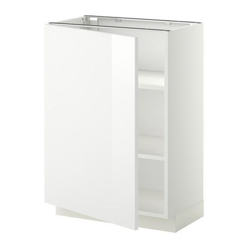 МЕТОД Напольный шкаф с полками - 60x37 см, Рингульт глянцевый белый, белый