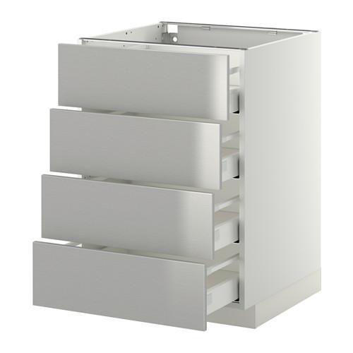 МЕТОД / МАКСИМЕРА Напольн шкаф 4 фронт панели/4 ящика - 60x60 см, Гревста нержавеющ сталь, белый