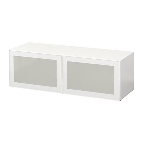 БЕСТО Стеллаж со стеклянн дверьми - белый/Глассвик белый/матовое стекло