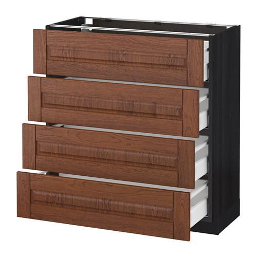 МЕТОД / МАКСИМЕРА Напольн шкаф 4 фронт панели/4 ящика - 80x37 см, Филипстад коричневый, под дерево черный