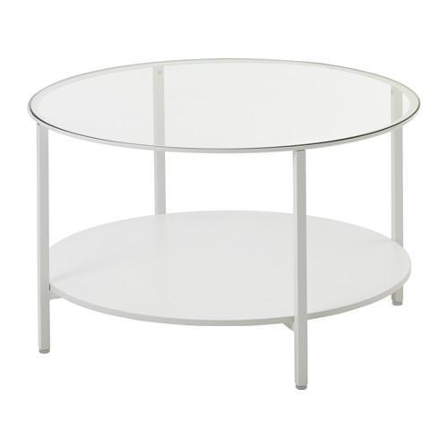 ВИТШЁ Журнальный стол - белый/стекло