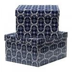 ЛИНГУ Коробка для бумаг с крышкой - синий