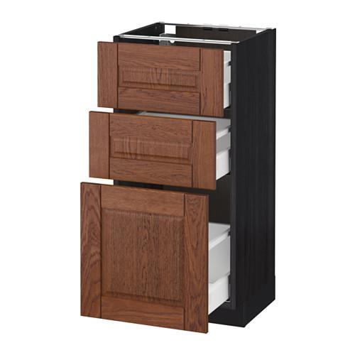 МЕТОД / МАКСИМЕРА Напольный шкаф с 3 ящиками - 40x37 см, Филипстад коричневый, под дерево черный