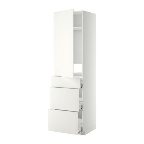 МЕТОД / МАКСИМЕРА Выс шкаф д/холодильн, с дврц/3 ящ - Хэггеби белый, белый