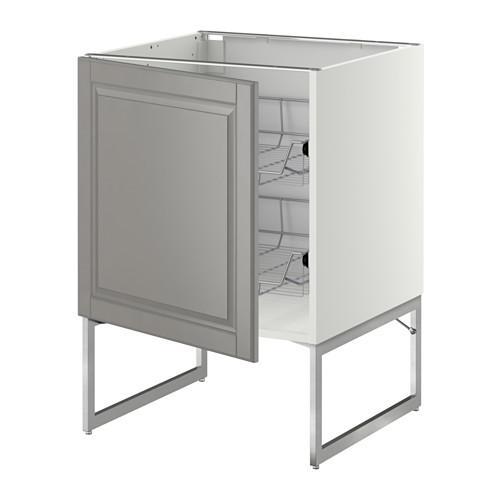 МЕТОД Напольный шкаф с проволочн ящиками - 60x60x60 см, Будбин серый, белый
