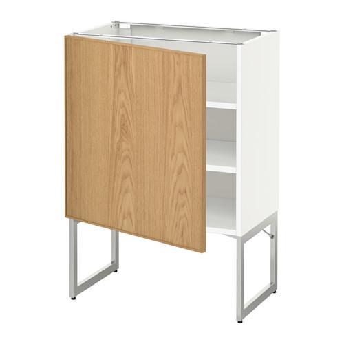МЕТОД Напольный шкаф с полками - 60x37x60 см, Экестад дуб, белый