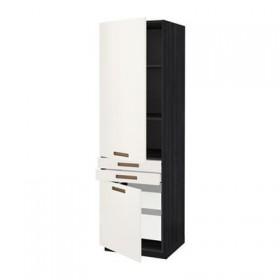 METHODE / H MAKSIMERA Kleiderschrank + Regal- / 4 yaschk / 2dvr / 2frnt - Mersta weiß, schwarz Holz