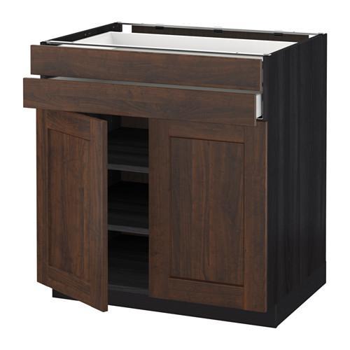 МЕТОД / МАКСИМЕРА Напольный шкаф/2дверцы/2ящика - 80x60 см, Эдсерум под дерево коричневый, под дерево черный