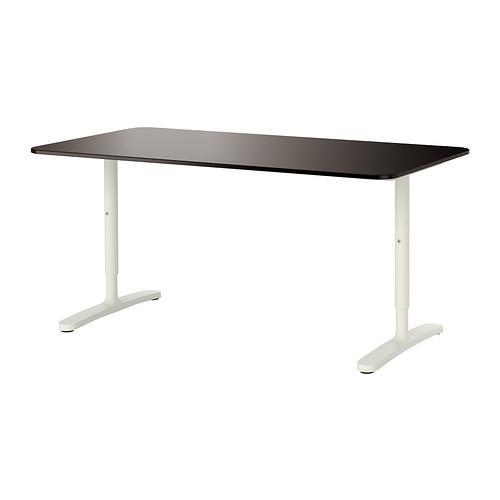 БЕКАНТ Письменный стол - черно-коричневый/белый