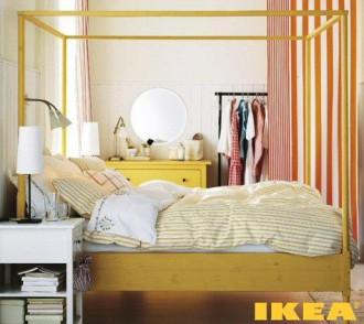 Bedroom interior in yellow and orange tones
