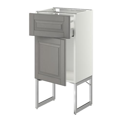 МЕТОД / МАКСИМЕРА Напольный шкаф с ящиком/дверью - 40x37x60 см, Будбин серый, белый