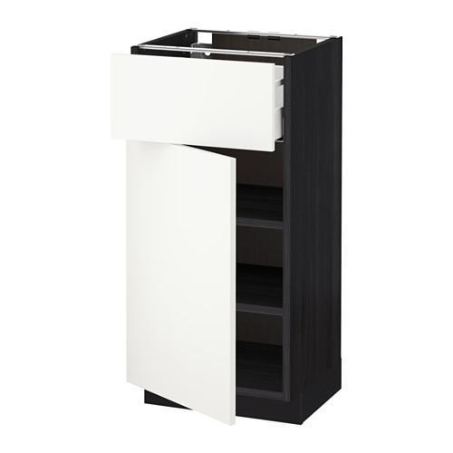 МЕТОД / МАКСИМЕРА Напольный шкаф с ящиком/дверью - 40x37 см, Хэггеби белый, под дерево черный