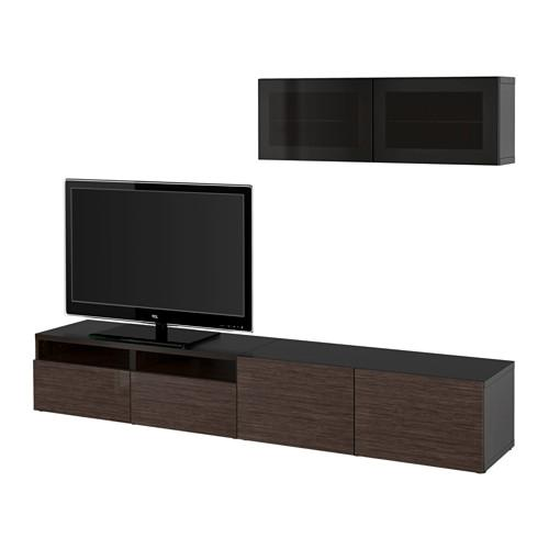 bessto schrank f r tv kombiniert glast ren schwarz braun selsviken gl nzend braun. Black Bedroom Furniture Sets. Home Design Ideas