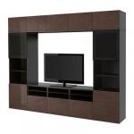 БЕСТО Шкаф для ТВ, комбин/стеклян дверцы - черно-коричневый/Сельсвикен глянцевый/коричневый дымчат стекло, направляющие ящика,нажимные