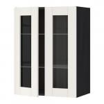 МЕТОД Навесной шкаф с полками/2 стекл дв - 60x80 см, Сэведаль белый, под дерево черный