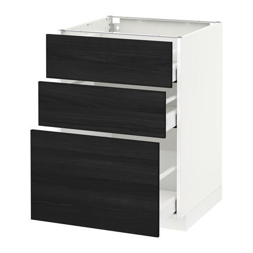 МЕТОД / МАКСИМЕРА Напольный шкаф с 3 ящиками - 60x60 см, Тингсрид под дерево черный, белый