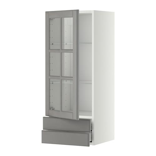 МЕТОД / МАКСИМЕРА Навесной шкаф/стекл дверца/2 ящика - 40x100 см, Будбин серый, белый