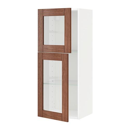 МЕТОД Навесной шкаф с полками/2 стекл дв - белый, Филипстад коричневый