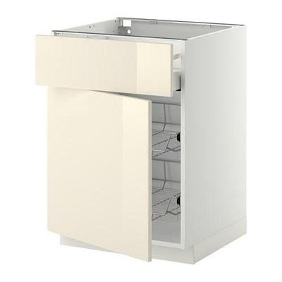 МЕТОД / МАКСИМЕРА Напольн шкаф с пров корз/ящ/дверью - 60x60 см, Рингульт глянцевый кремовый, белый