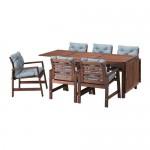 ÄPPLARÖ стол+6 кресел,д/сада коричневая морилка/Иттерон синий