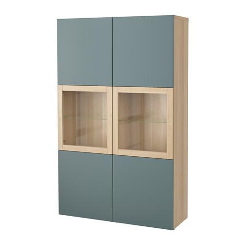 БЕСТО Комбинация д/хранения+стекл дверц - под беленый дуб/Вальвикен серо-бирюзовый, прозрачное стекло