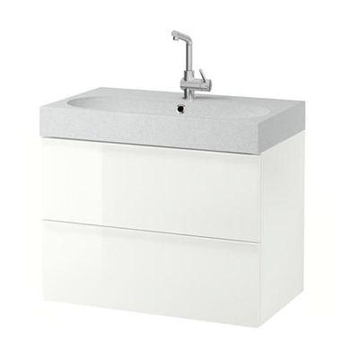 GODMORGON / Bråviken armadietto affonda con cassetti 2 - lucido bianco / grigio chiaro