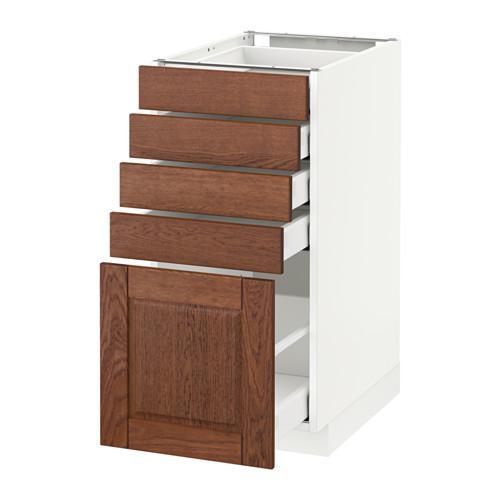 МЕТОД / МАКСИМЕРА Напольный шкаф с 5 ящиками - 40x60 см, Филипстад коричневый, белый