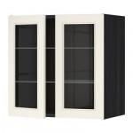 МЕТОД Навесной шкаф с полками/2 стекл дв - 60x60 см, Хитарп белый с оттенком, под дерево черный