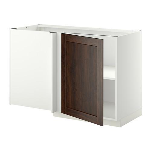 МЕТОД Угловой напольный шкаф с полкой - Эдсерум под дерево коричневый, белый