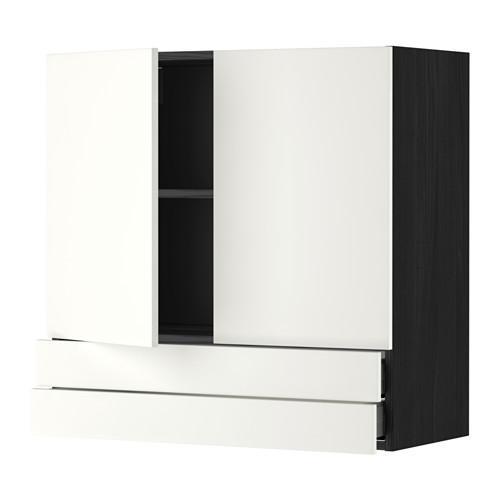 МЕТОД / МАКСИМЕРА Навесной шкаф/2дверцы/2ящика - 80x80 см, Хэггеби белый, под дерево черный