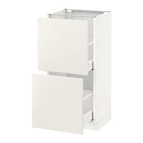 МЕТОД / МАКСИМЕРА Напольный шкаф с 2 ящиками - 40x37 см, Веддинге белый, белый
