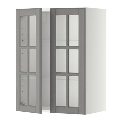 МЕТОД Навесной шкаф с полками/2 стекл дв - 60x80 см, Будбин серый, белый