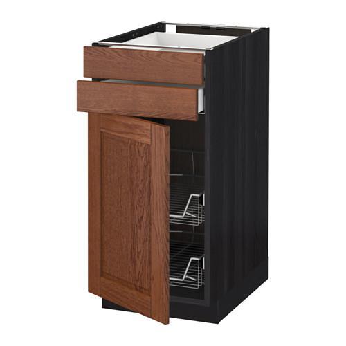МЕТОД / МАКСИМЕРА Напольн шкаф/дверца/2ящ/првл крзн - 40x60 см, Филипстад коричневый, под дерево черный