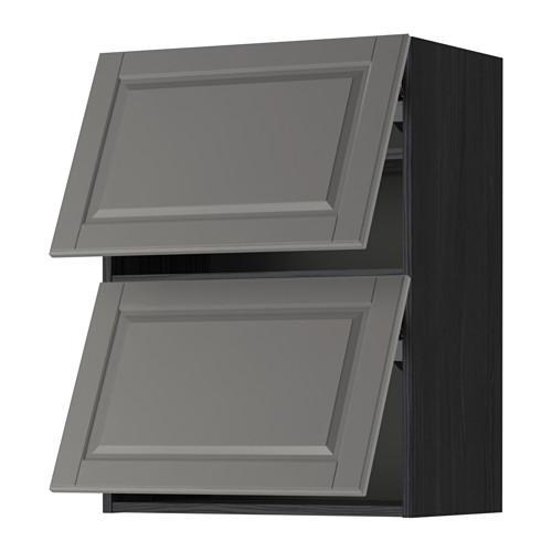 МЕТОД Навесной шкаф/2 дверцы, горизонтал - 60x80 см, Будбин серый, под дерево черный