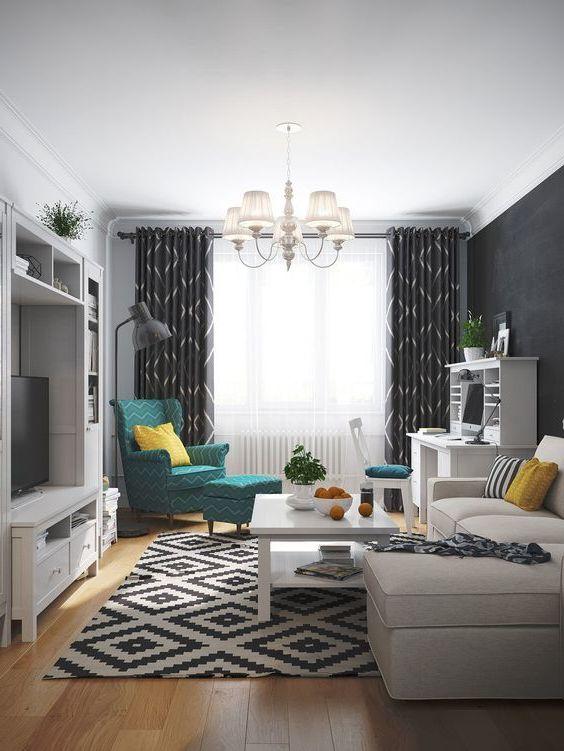 स्कैंडिनेवियाई शैली में एक कमरे के अपार्टमेंट में रहने वाले कमरे का आंतरिक हिस्सा