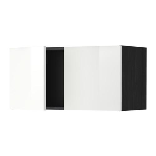 МЕТОД Навесной шкаф с 2 дверями - Рингульт глянцевый белый, под дерево черный