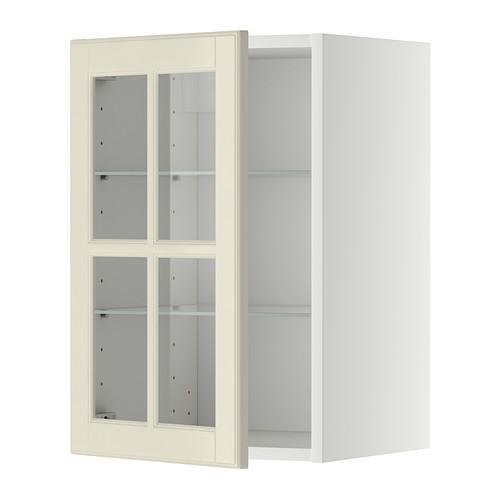 МЕТОД Навесной шкаф с полками/стекл дв - 40x60 см, Будбин белый с оттенком, белый