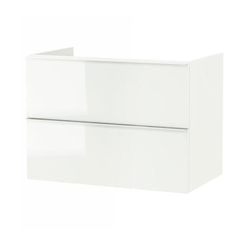 GODMORGON Waschbecken Schrank mit 2 Kiste - Glanzweiß, 80x47x58 sehen
