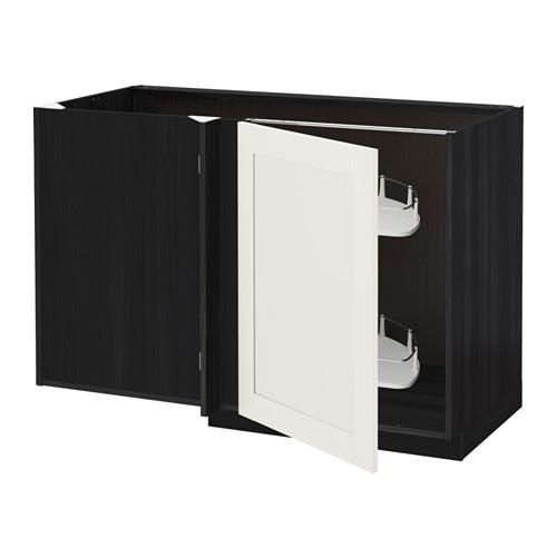 МЕТОД Угловой напол шкаф с выдвижн секц - Сэведаль белый, под дерево черный