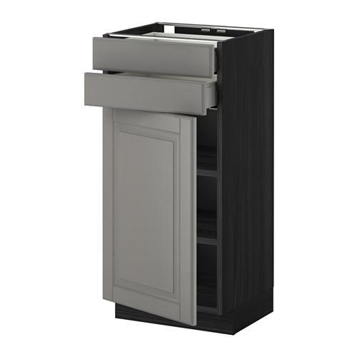 МЕТОД / МАКСИМЕРА Напольный шкаф с дверцей/2 ящиками - 40x37 см, Будбин серый, под дерево черный