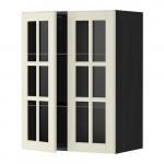 МЕТОД Навесной шкаф с полками/2 стекл дв - 60x80 см, Будбин белый с оттенком, под дерево черный