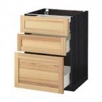 MÉTODO / FORVARA base del armario con cajones 3 - madera de color negro, Torhemn fresno natural, 60x60 cm