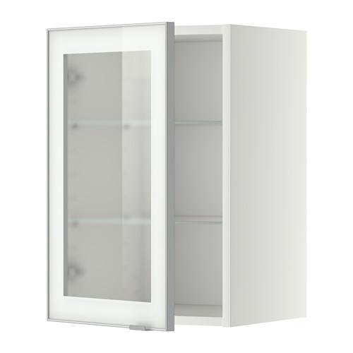 МЕТОД Навесной шкаф с полками/стекл дв - 40x60 см, Ютис матовое стекло/алюминий, белый
