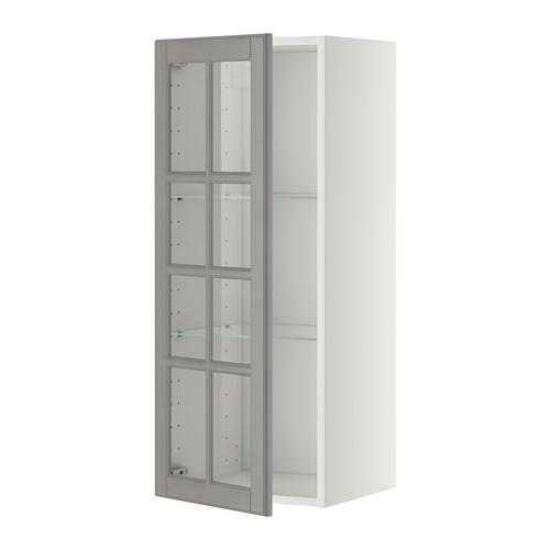 МЕТОД Навесной шкаф с полками/стекл дв - 40x100 см, Будбин серый, белый