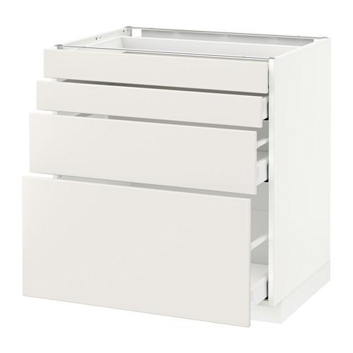МЕТОД / МАКСИМЕРА Напольн шкаф 4 фронт панели/4 ящика - 80x60 см, Веддинге белый, белый