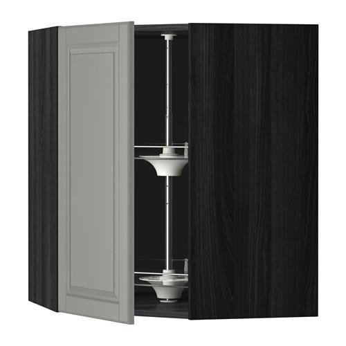 МЕТОД Угл нвсн шкф с вращающ секц - 68x80 см, Будбин серый, под дерево черный