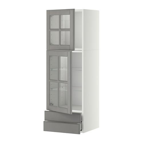 МЕТОД / МАКСИМЕРА Навесной шкаф/2 стек дв/2 ящика - 40x120 см, Будбин серый, белый