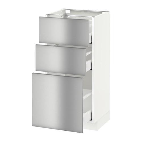 МЕТОД / МАКСИМЕРА Напольный шкаф с 3 ящиками - 40x37 см, Гревста нержавеющ сталь, белый