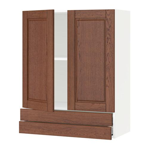 МЕТОД / МАКСИМЕРА Навесной шкаф/2дверцы/2ящика - 80x100 см, Филипстад коричневый, белый